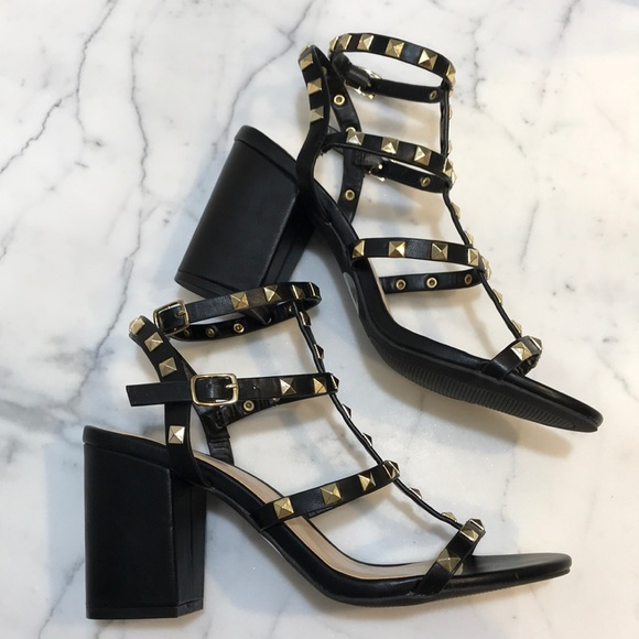 f4accfe7b12 Lulu s Shoes - BLACK STUDDED ANKLE STRAP HEELS (sandals)